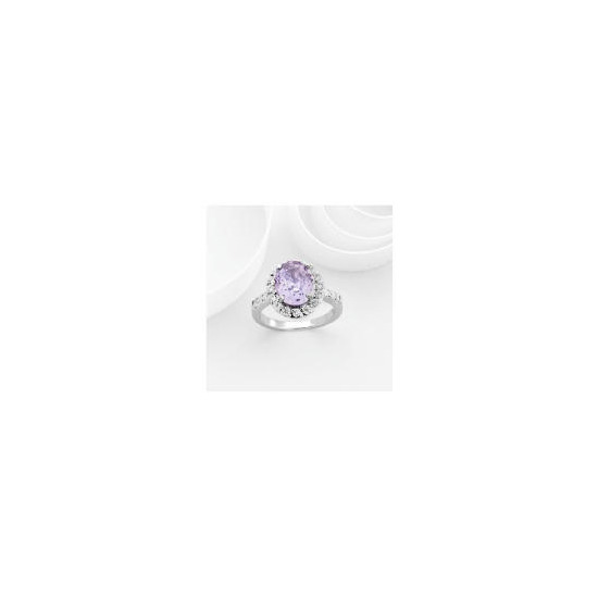 Adrian Buckley Lavender and White Cubic Zirconia Ring, Large