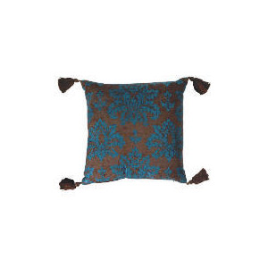 Photo of Tesco Damask Chenille Tassel Cushion , Teal Furniture
