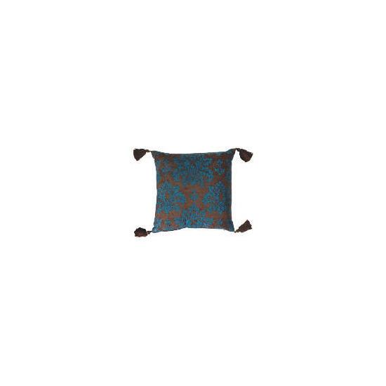 Tesco Damask Chenille Tassel Cushion , Teal