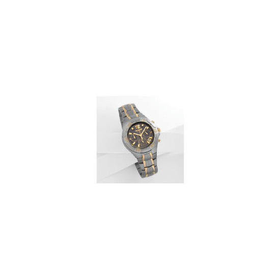 Accurist mens 2 tone chrono chocolate dial TITANIUM bracelet