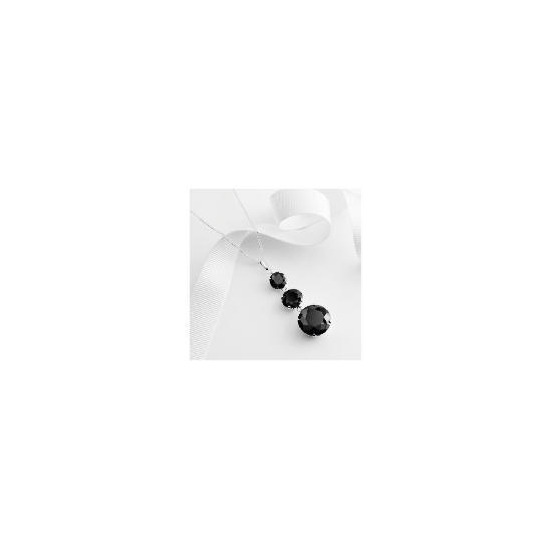 Sterling silver black cubic zirconia drop pendant