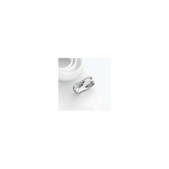 9ct white gold diamond ring Q