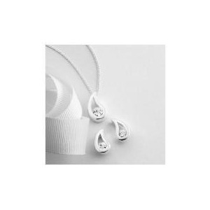 Photo of Sterling Silver Cubic Zirconia Earring and Pendant Set Jewellery Woman