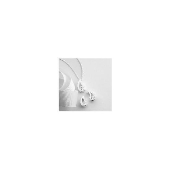 Sterling Silver Cubic Zirconia Earring and Pendant Set