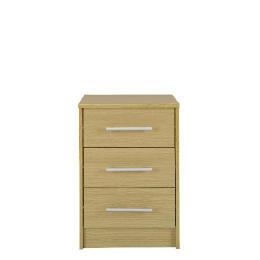 Brisbane 3 drawer Bedside Table, Light Oak Reviews