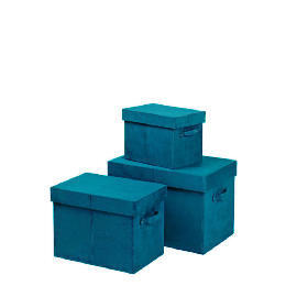 Teal faux suede storage trunks 3 pack Reviews