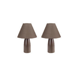 Photo of Tesco Pair Of Tapered Ceramic Table Lamps, Chocolate Lighting