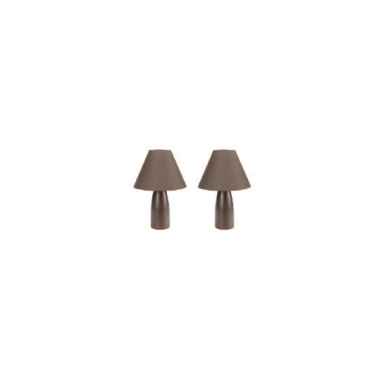 Tesco Pair Of Tapered Ceramic Table Lamps, Chocolate