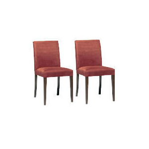 Photo of Pair Of Special Edition Sorrento Low Back Upholstered Chairs, Aubergine Faux Suede With Walnut Stained Beech Legs Furniture