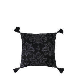 Tesco Damask Chenille Tassel Cushion , Black Reviews