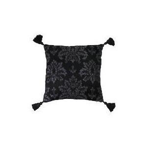 Photo of Tesco Damask Chenille Tassel Cushion , Black Cushions and Throw