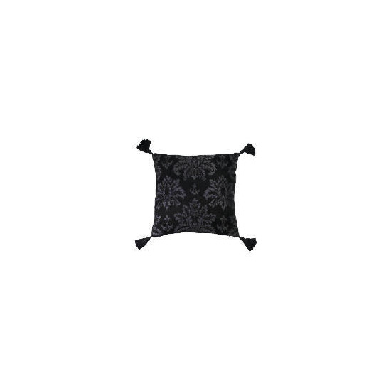 Tesco Damask Chenille Tassel Cushion , Black
