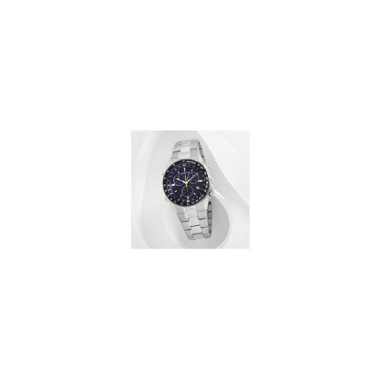 Accurist mens black dial chrono with tachymeter silve bracelet