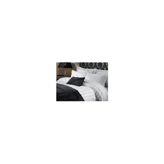 Hotel 5* Satin Stripe Super King Duvet Set, White
