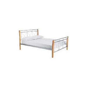Photo of Faro Double Bed, Silver Finish & Natural Wood Bedding