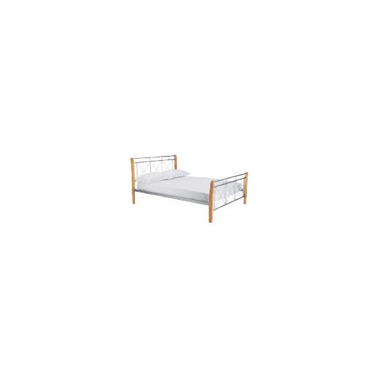 Faro Double Bed, Silver Finish & Natural Wood