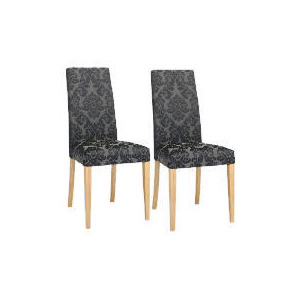 Photo of Pair Of Special Edition Lucca  High Back Upholstered Chairs, Black Damask With Oak Legs Furniture
