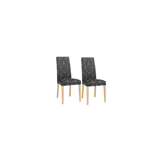 Pair of Special Edition Lucca  high back upholstered chairs, Black Damask with Oak legs