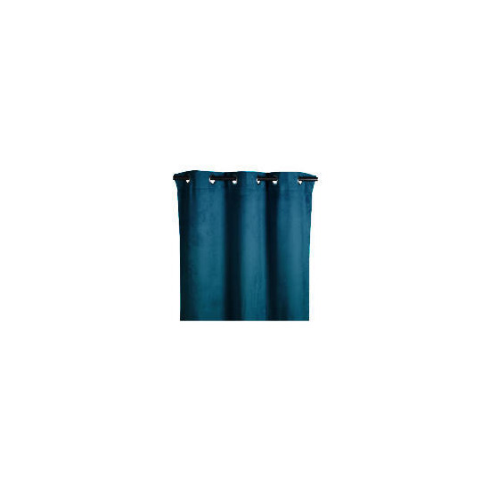 Tesco Faux Suede Unlined Eyelet Curtain, Teal 168x137cm