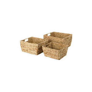 Photo of Water Hyacinth 3 Open Baskets With Handles Household Storage