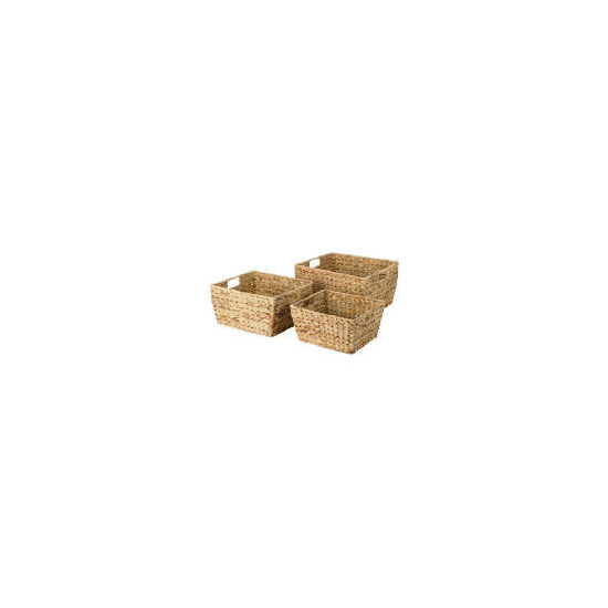 Water hyacinth 3 open baskets with handles