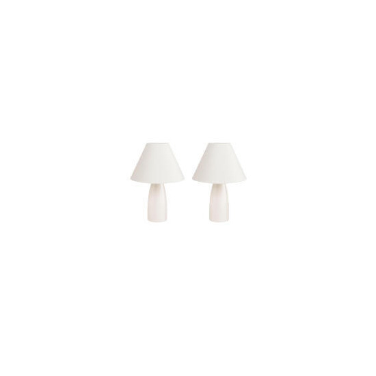 Tesco Pair Of Tapered Ceramic Table Lamps, Cream