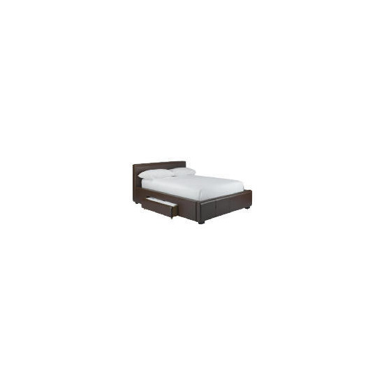 Bernay Faux Leather 2 drawer Double Bed, Brown