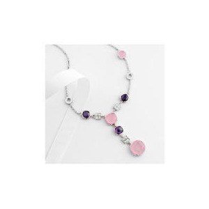 Photo of Adrian Buckley Pink and Purple Cubic Zirconia Necklace Jewellery Woman