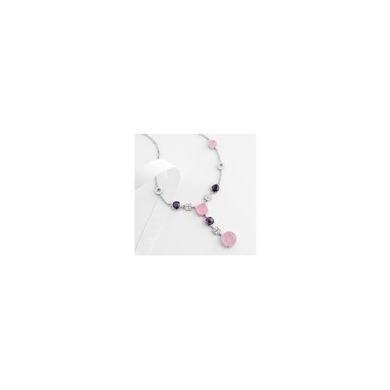 Adrian Buckley Pink and Purple Cubic Zirconia Necklace