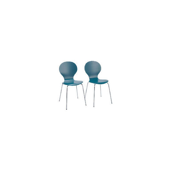 Pair of Bistro Stacking Chairs, Teal