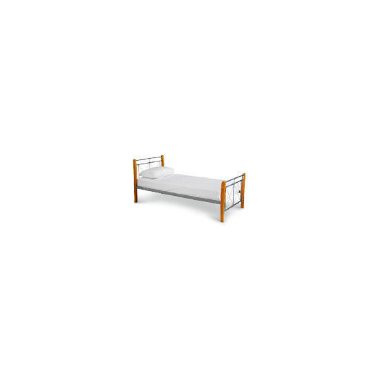 Faro Single Bed, Silver Finish & Natural Wood