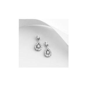 Photo of 9CT White Gold Cubic Zirconia Drop Earrings Jewellery Woman