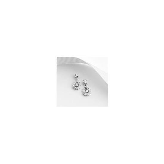 9ct White Gold Cubic Zirconia Drop Earrings