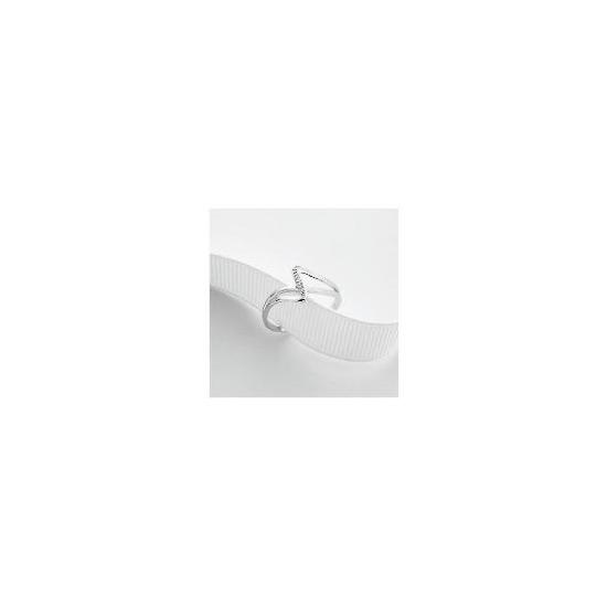 9ct White Gold Diamond Ring Q
