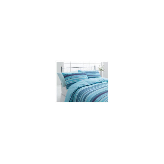 Tesco Stripe Single Duvet Set, Teal