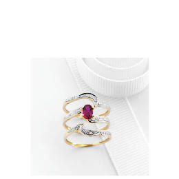 9ct Gold Created Ruby and Diamond Bridal Ring Set R Reviews