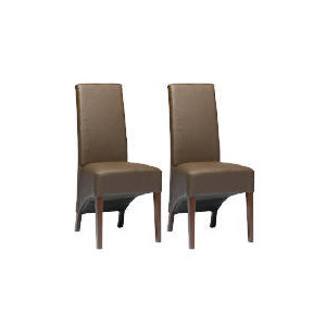 Photo of Pair Of Monterosso Chairs, Brown Leather With Walnut Stained Beech Legs Furniture