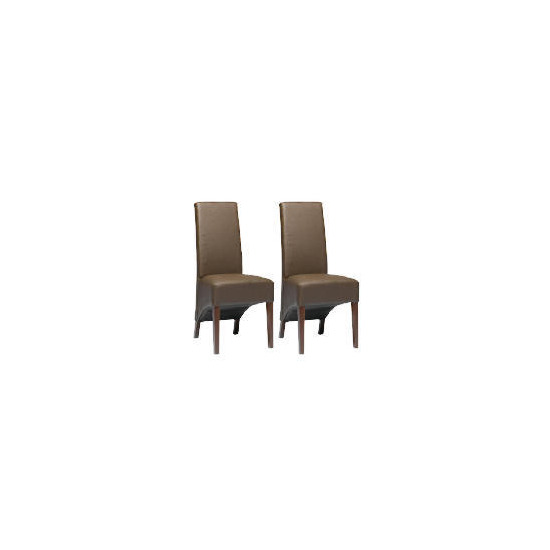 Pair of Monterosso Chairs, Brown Leather with Walnut Stained Beech legs