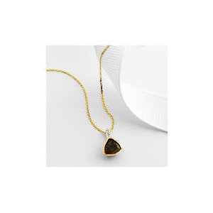 Photo of 9CT Gold Smoky Quartz and Diamond Pendant Jewellery Woman