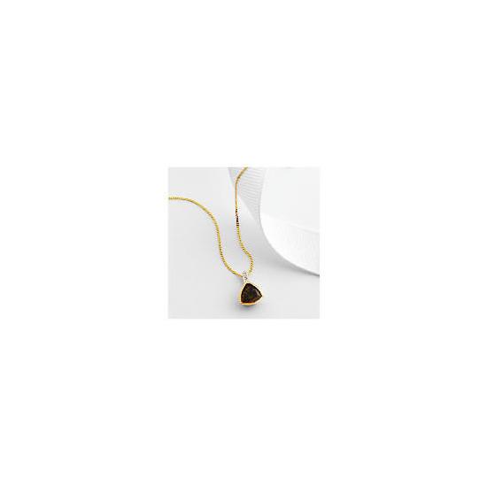 9ct gold smoky quartz and diamond pendant
