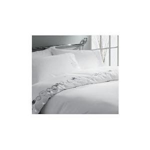 Photo of Tesco Scribble Embroidered Single Duvet Set, White Bed Linen