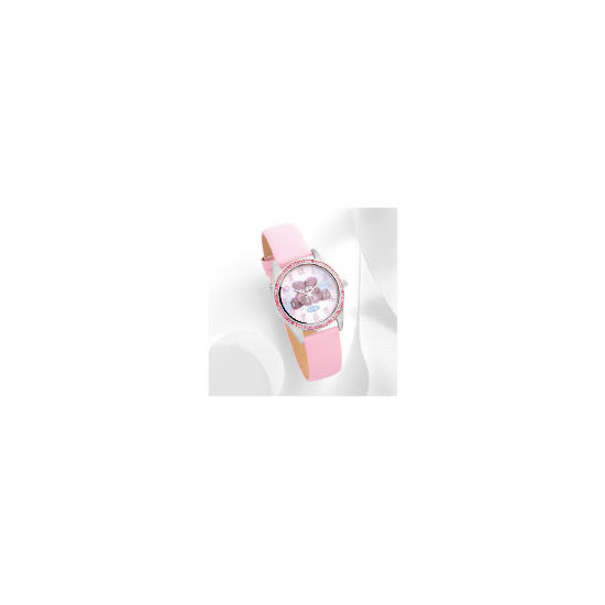 Me to pink strap stone set watch