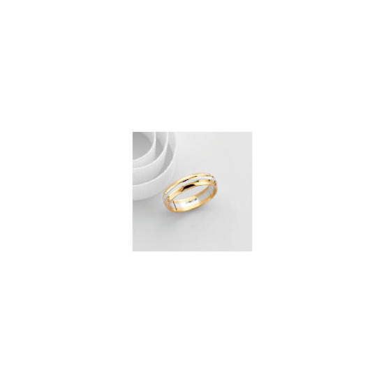 9ct Two Tone Gold Gents Wedding Ring V