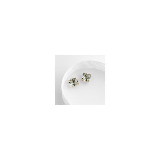 9ct gold green amethyst earrings