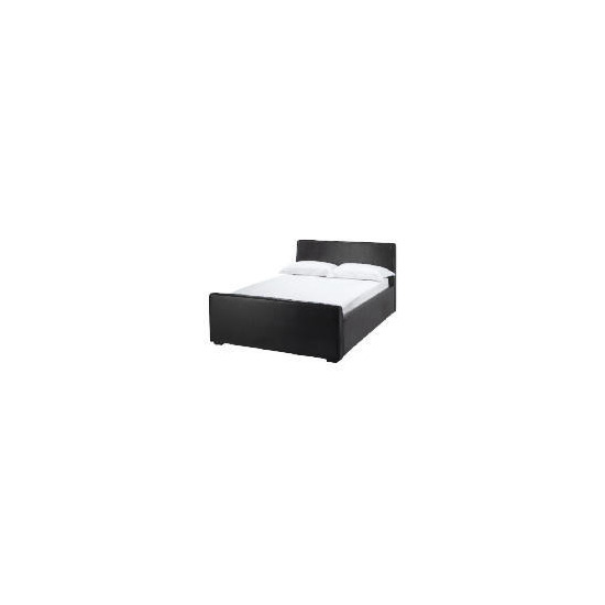 Santorini Faux Leather double Bed, black