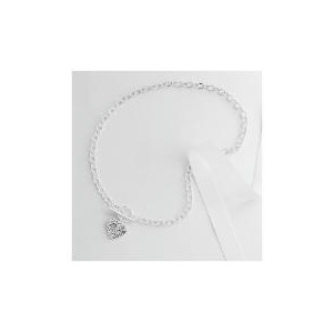 Photo of Sterling Silver Crystal Heart T-Bar Necklace Jewellery Woman