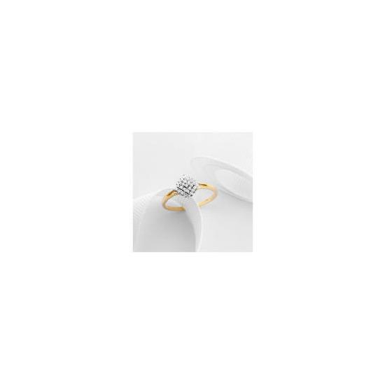 9ct Gold 1/4 Carat Diamond Cluster Ring P