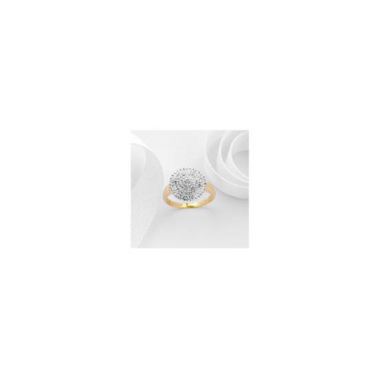 9ct Gold Diamond 1/2 Carat Cluster Ring L