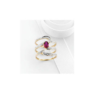Photo of 9CT Gold Created Ruby and Diamond Bridal Ring Set O Jewellery Woman