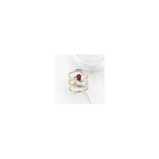 9ct Gold Created Ruby and Diamond Bridal Ring Set O
